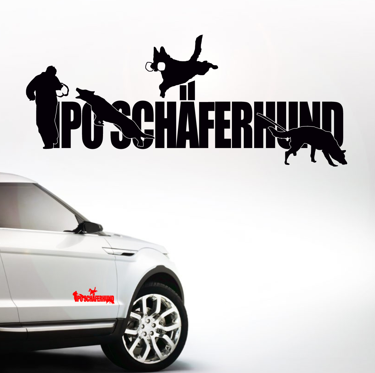 Auto Aufkleber Ipo Schäferhund Schrift