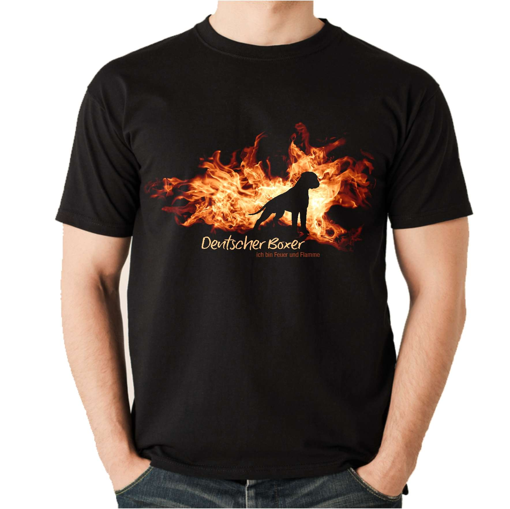 Damen T-Shirt BOSTON TERRIER FEUER UND FLAMME by Siviwonder Hundemoti